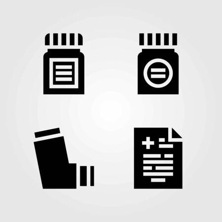 Medical vector icons set. medicine, inhaler and medical result