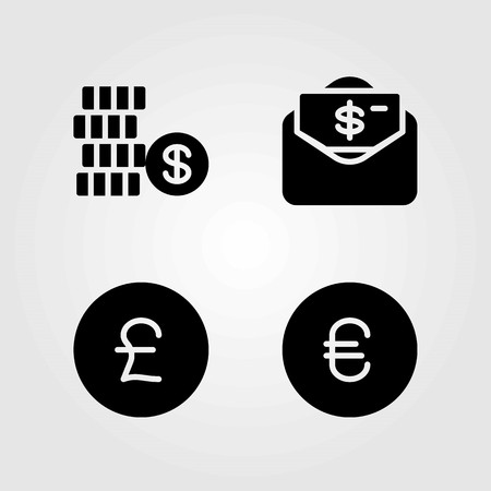 Sign vector icons set. dollar, money and pound sterling