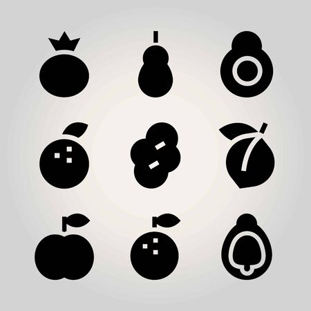 Fruits vector icon set. apricot, prune, avocado and quince Illustration