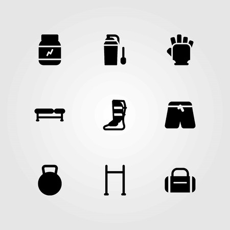 Fitness vector icons set. shinpad, kettlebell and pull up