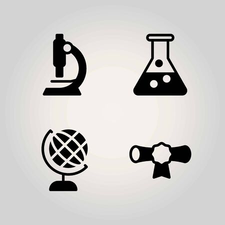 Science vector icon set. flask, cetificate and microscope