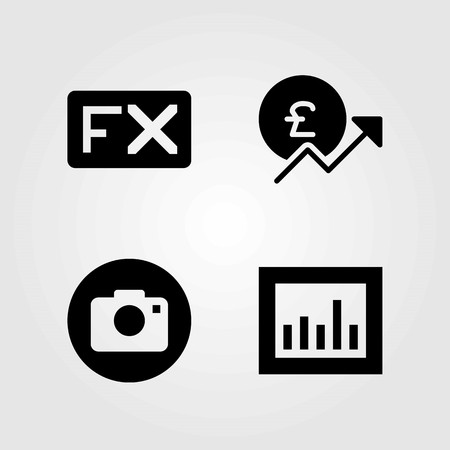 Buttons vector icons set. analytics, fx and photo camera Illustration