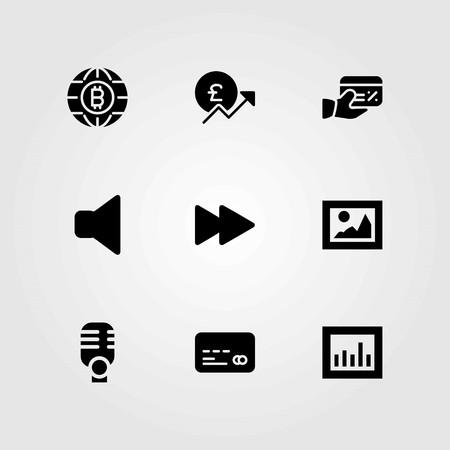 단추 벡터 아이콘을 설정합니다. 음소거, 파운드 및 신용 카드 스톡 콘텐츠 - 94015450