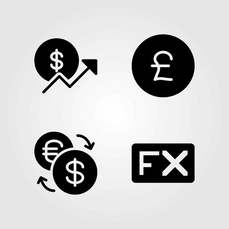 Buttons vector icons set. exchange, fx and pound sterling Illustration