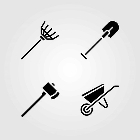 Garden vector icons set. axe, wheelbarrow and rake Illustration