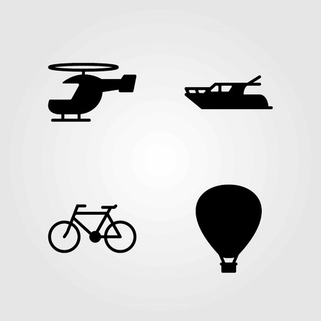 Transport vector icons set. air balloon, yatch and hot air balloon Vettoriali