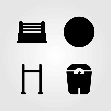 Fitness vector icons set. ring, pull up bar and ball
