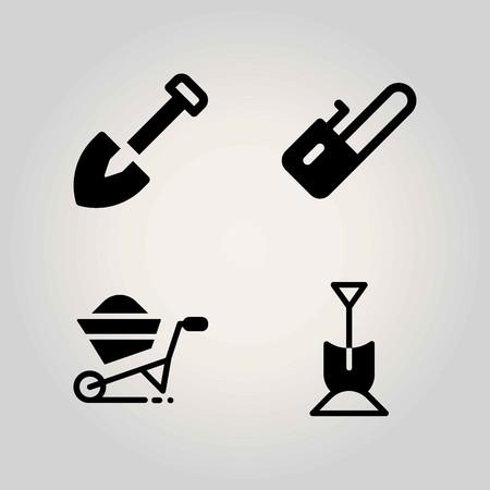 Farm vector icon set. wheelbarrow, chainsaw and shovel