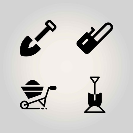 Farm vector icon set. wheelbarrow, chainsaw and shovel