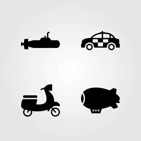 Transport vector icons set. car, zeppelin and motorbike Çizim