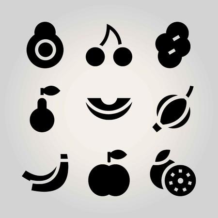 Fruits vector icon set. prune, melon, peach and banana Illustration