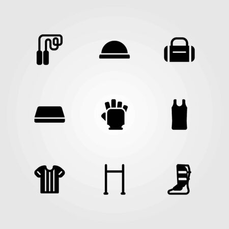 Fitness vector icons set. mat, skipping and hammed Ilustrace