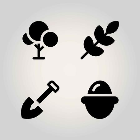 Jeu d'icônes de vecteur de l'agriculture. pelle, oeuf, arbre et blé Banque d'images - 94015559