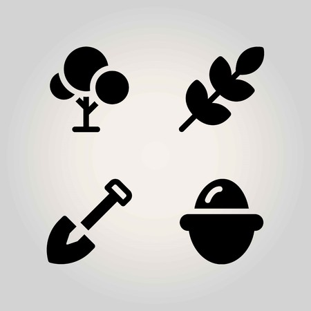 Agriculture vector icon set. shovel, egg, tree and wheat