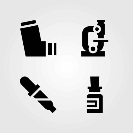 Medische vector iconen set. inhalator, pillen en microscoop Stock Illustratie