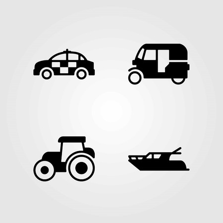 Transport vector icons set. police car, tuk tuk and car
