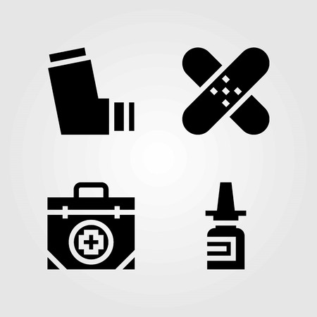 Medical vector icons set, inhaler and first aid kit