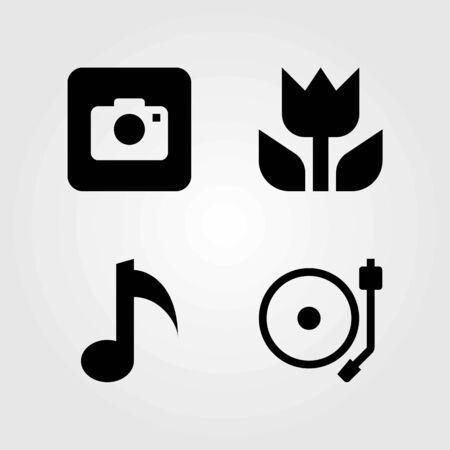 Multimedia vector icons set. turntable, macro and photo camera