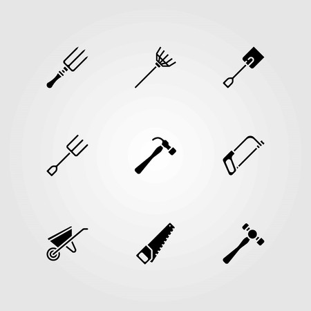 Garden vector icons set. fork, wheelbarrow and rake