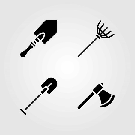 Garden vector icons set. shovel, axe and rake