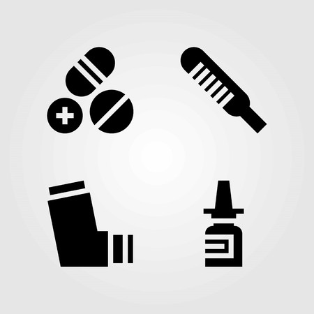 Medical vector icons set. thermometer, inhaler and nasal spray Illustration
