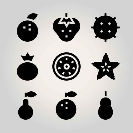 Fruits vector icon set. tangerine, carambola, kiwi and strawberry Illustration