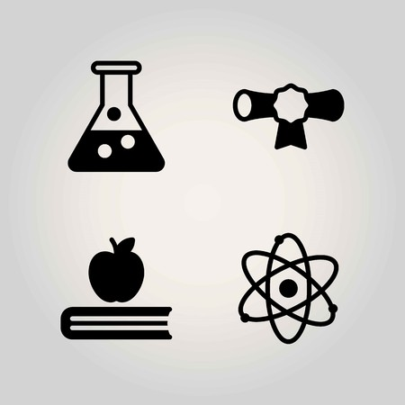 Science vector icon set. flask, diploma and book