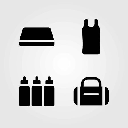 Fitness vector icons set. mat, capsules and gym mat