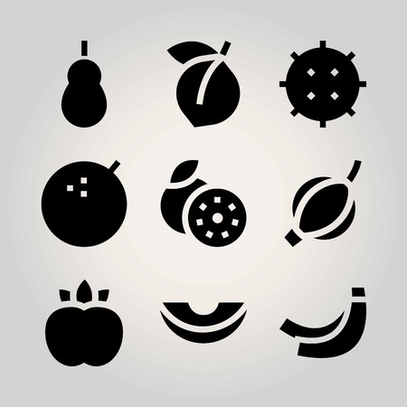 Fruits vector icon set. lychee, quince, groseberry and peach