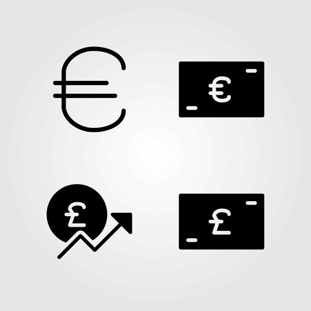 Sign vector icons set. euro and pound sterling