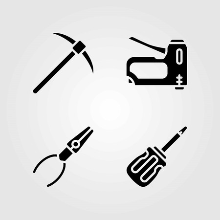Tools vector icons set. staple gun, pliers and screwdriver