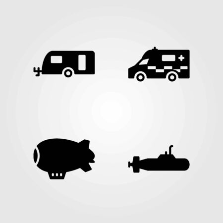 Transport vector icons set. zeppelin, ambulance and caravan Çizim