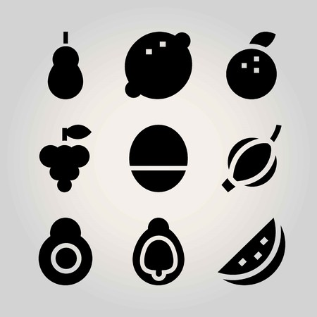 Fruits vector icon set. quince, fig, avocado and watermelon