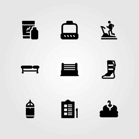 Fitness vector pictogrammen instellen. kleding, scheenbeschermer en checklist