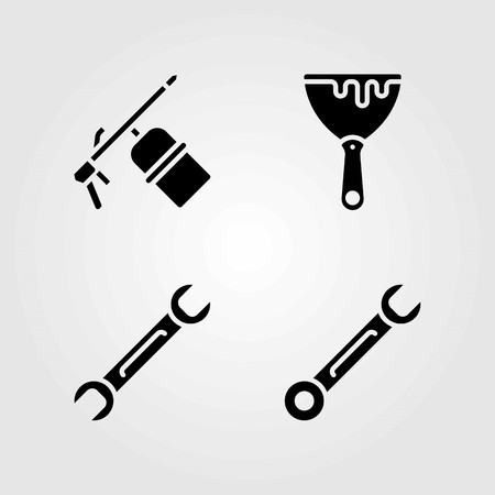Tools vector icons set. spanner, welder and scraper