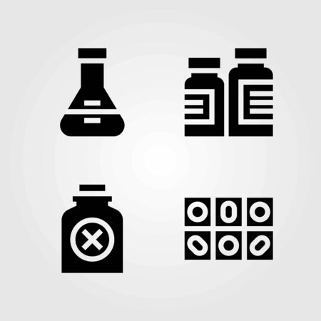 Medical vector icons set. bottle, pills and flask 向量圖像