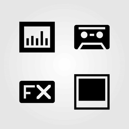 Multimedia vector icons set. cassette, photo and analytics
