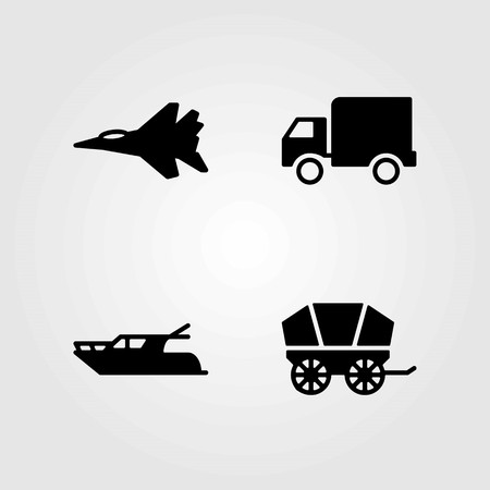 Transport vector icons set. truck, jet and yatch Vettoriali