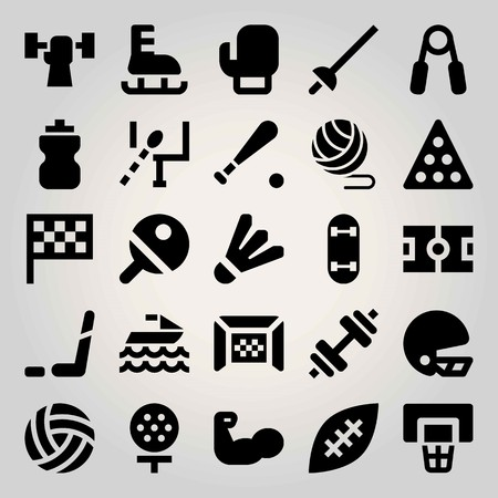 Sport vector icon set. american football, helmet, football gate and basketball Vectores