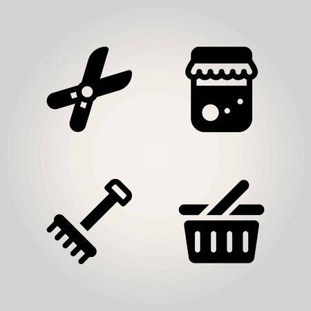 Boerderij vector icon set. snoeischaar, honing, winkelmandje en hark Stock Illustratie