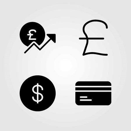 Money vector icons set. credit card, coin and dollar Illusztráció