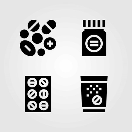 Medical vector icons set. tablets, pills and medicine