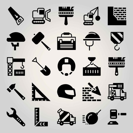 Construction vector icon set. set square, container, ruler and crane
