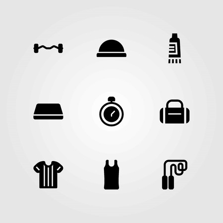 Fitness vector icons set. sport shirt, shirt and cream Ilustrace