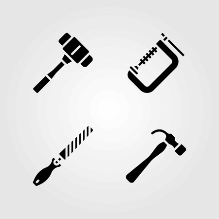Tools vector icons set. clamp, hammer and chisel