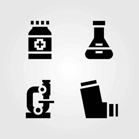 Medische vector iconen set. inhalator, fles en microscoop