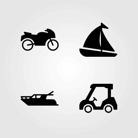 Transport vector icons set. golf, yatch and sailboat Vettoriali