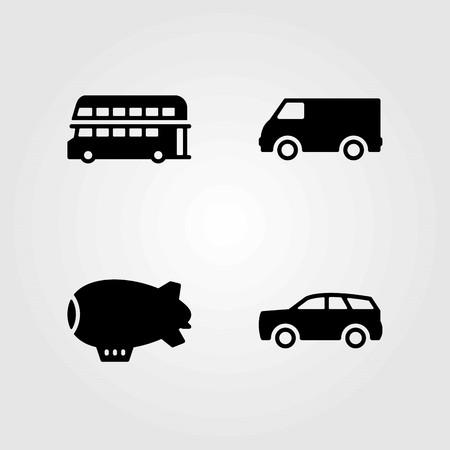 Transport vector icons set. double decker bus, van and bus Çizim