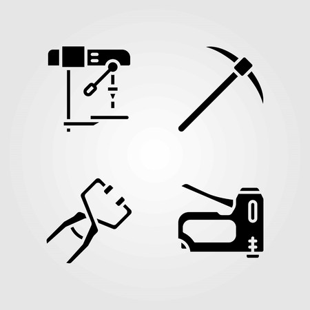 Tools vector icons set. staple gun, drill and clamp