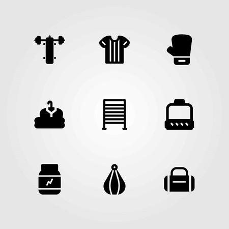 Fitness vector icons set. bench press, clothing and boxing Illusztráció